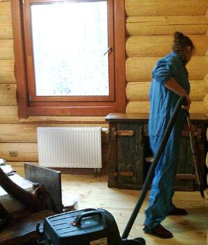 уборка деревянных домов из бруса
